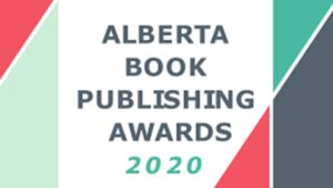 Text that says Alberta Publishing Awards with some decorative colour blocks