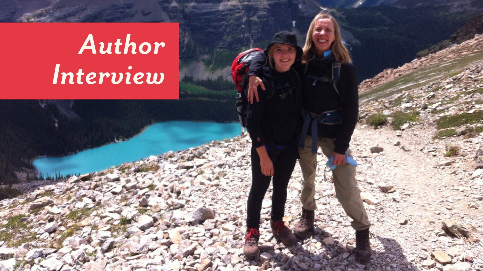 Author photo of Mandi Kujawa, on a hike with her daughter, Hana, in the mountains