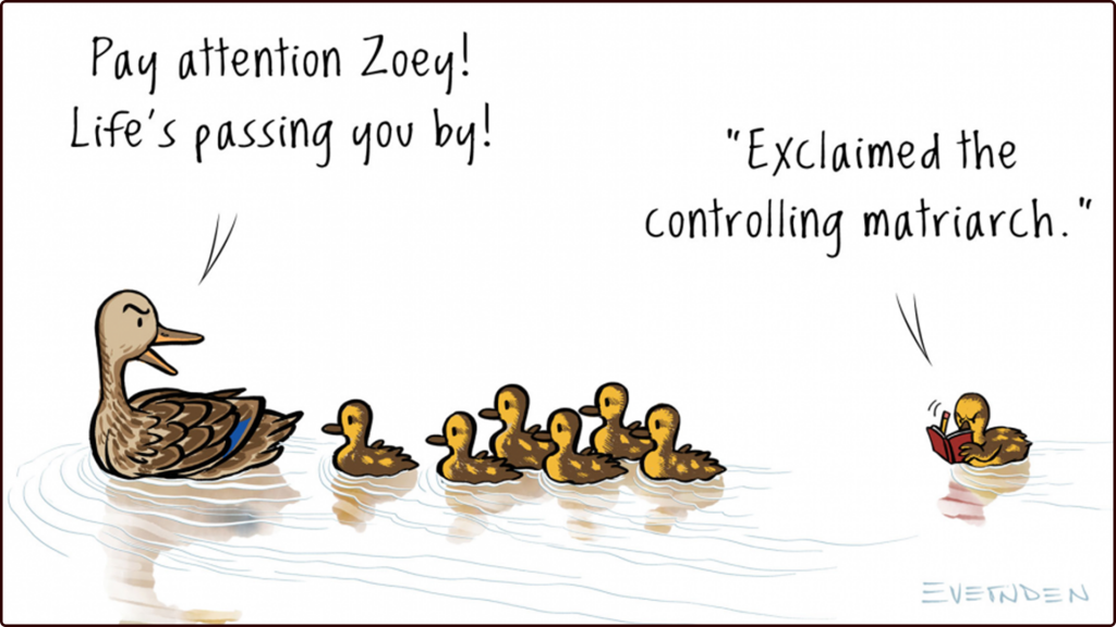 """A mama duck swims with her ducklings behind her in a line, the last one has a pen and notebook. Mama duck: """"Pay attention Zoey, the world is passing you by."""" Duckling with notebook: """"...exclaimed the controlling matriarch!"""""""