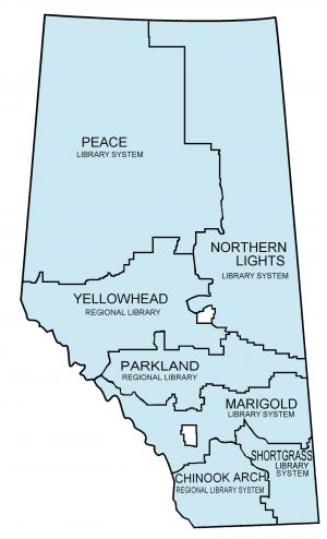 Map of the Alberta regional library systems