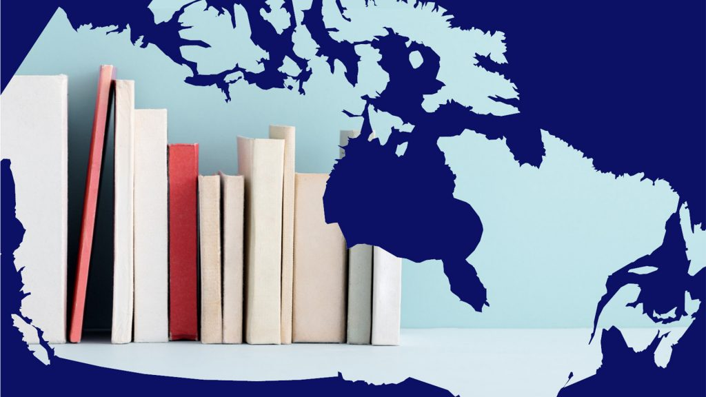 A map of Canada with books