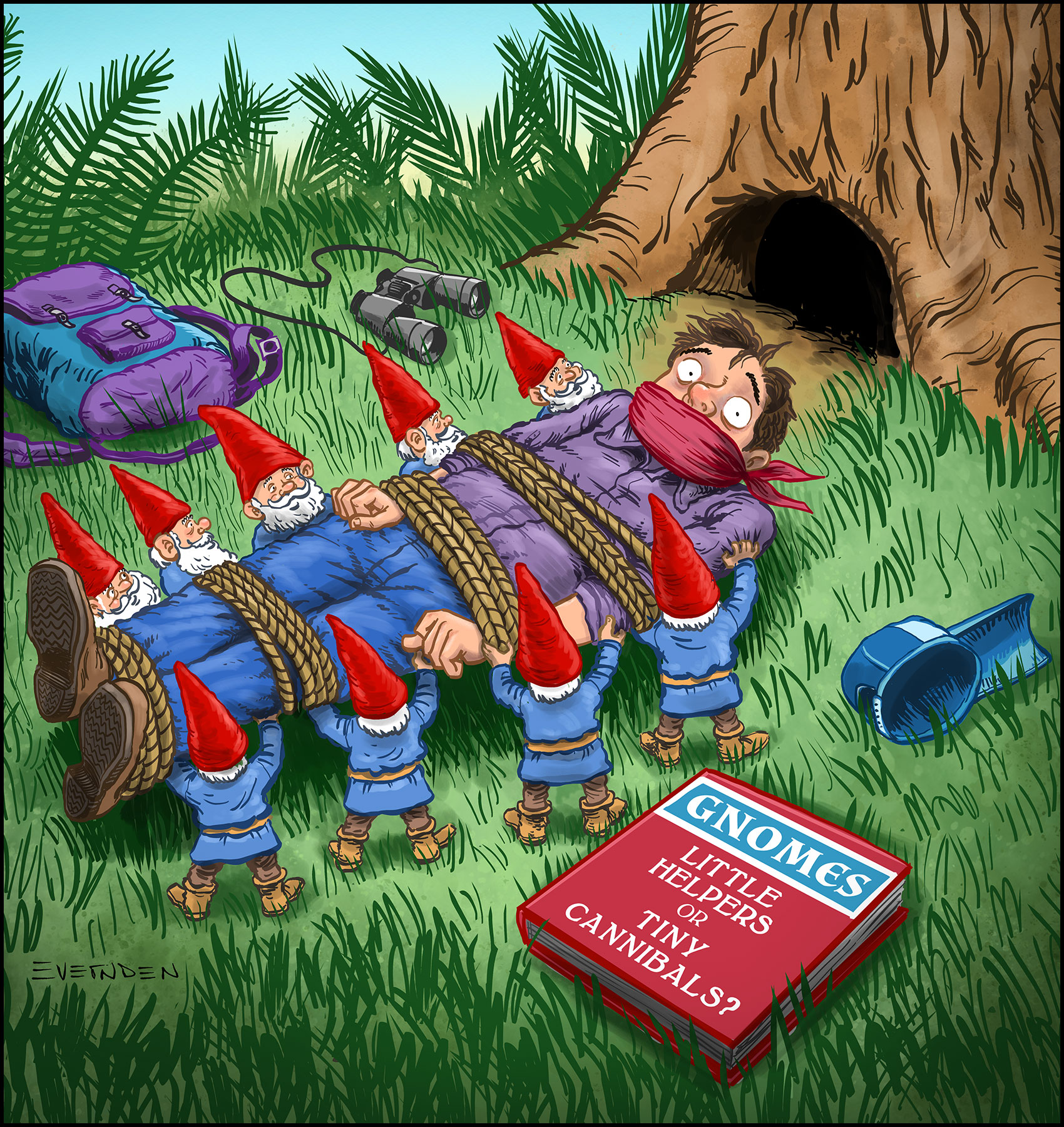 Editorial cartoon by Derek Evernden: A man is tied up by nine gnomes, looking at a book he hasn't read yet called