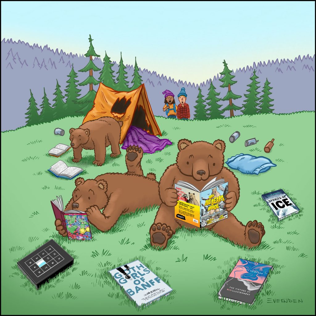 June 2021's Editorial Cartoon by Derek Evernden shows bears breaking into the tent of a couple camping, in order to steal and read their Alberta books