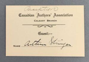 Reception guest card signed by novelist Arthur Stringer, July 4, 1928.