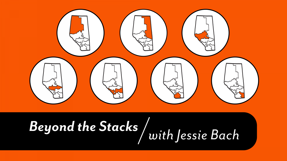 Feature image for Beyond the Stacks with Jessie Bach shows maps indicating the regional library systems in Alberta.