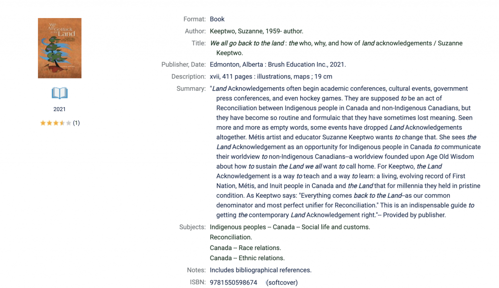 Example of a book in the library catalogue: We All Go Back to the Land (Brush Education Inc.)
