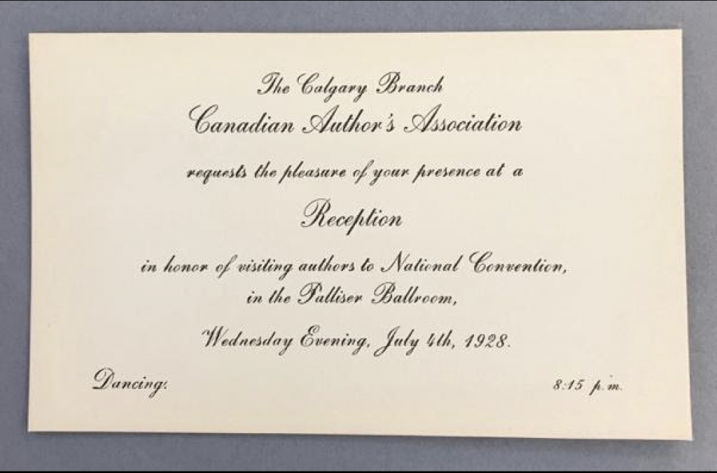 Invitation to The Calgary Branch Canadian Authors' Association Reception, July 4, 1928.
