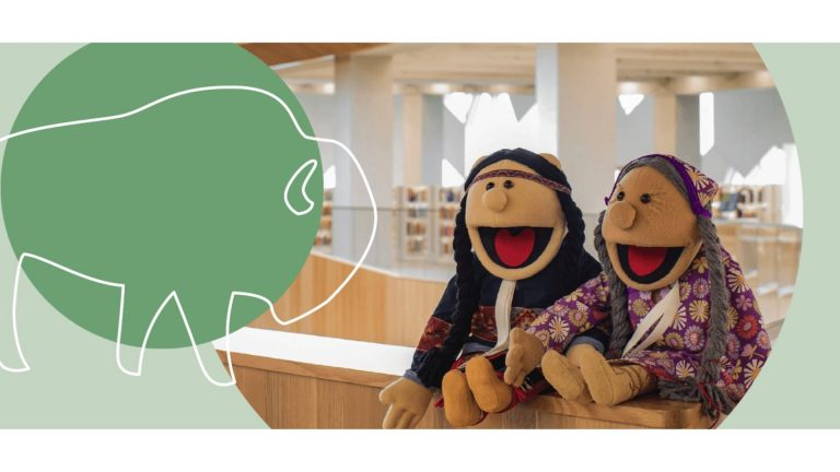 Event image for the Kitchen Table Classroom event, showing two puppets with Indigenous clothing and hairstyles.