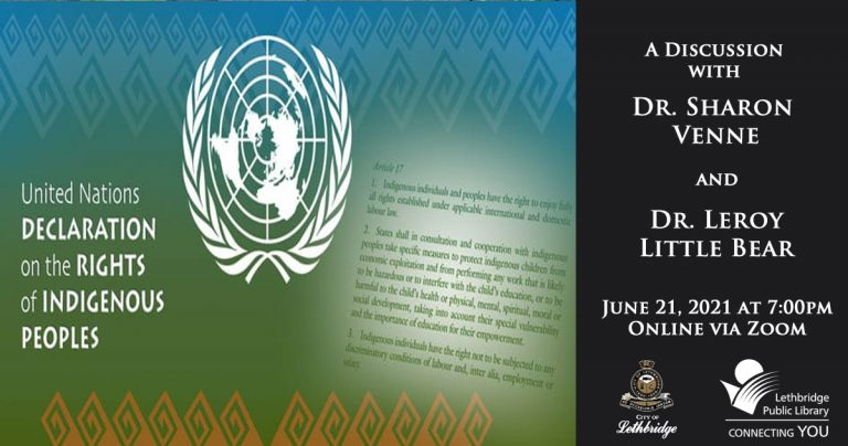 Event image for the UN Declaration on the Rights of Indigenous Peoples discussion event at Lethbridge Public Library.
